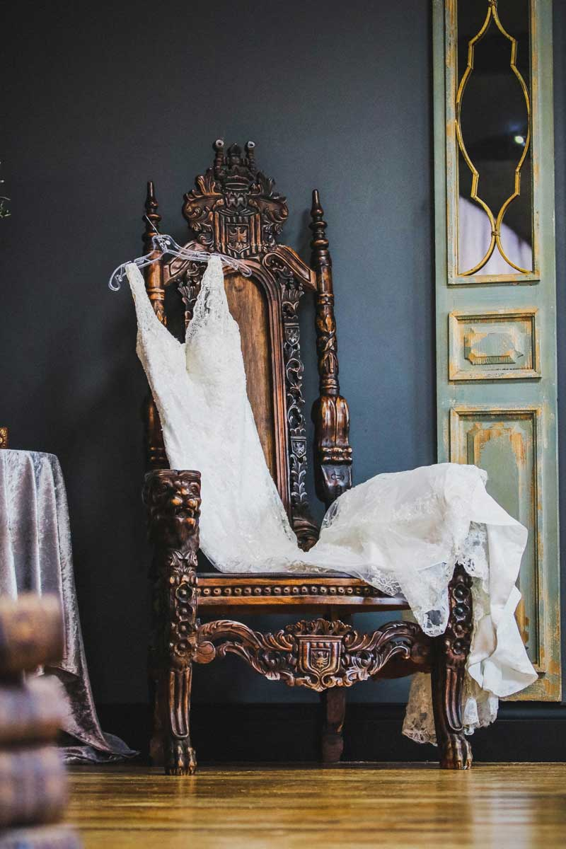 Wedding Gown on antique chair